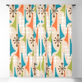 Mid Century Modern Atomic Wing Composition 66 Brown Orange Turquoise and Chartreuse Blackout Curtain