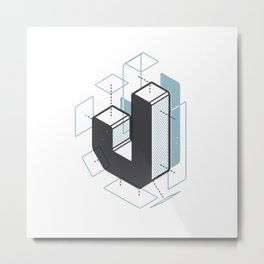 The Exploded Alphabet / J Metal Print