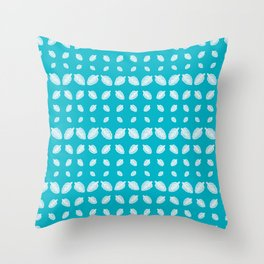 Blue Crenate Leaves Pattern Throw Pillow