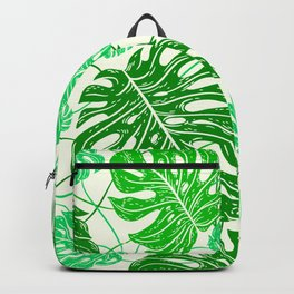 Tropical Jungle Leaves Island-Style Pattern in Gorgeous Green Backpack