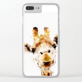 Giraffe watercolor art print safari animals nursery decoration Clear iPhone Case