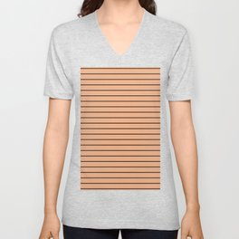 Thin Black Lines On Peach Unisex V-Neck