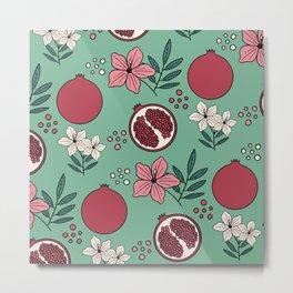 Pretty Pomegranates in Green Metal Print