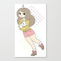 bee and puppycat Canvas Prints featuring Bee & Puppycat by rhinestonepixel