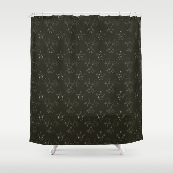 Anatomical Vertebrae Pattern Black Shower Curtain