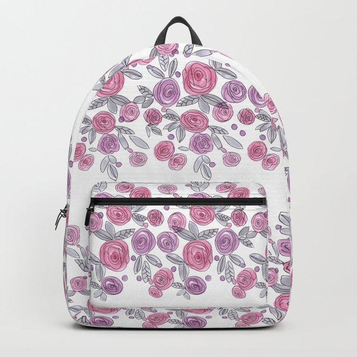 Bouquets of pink roses . Watercolor . Backpack