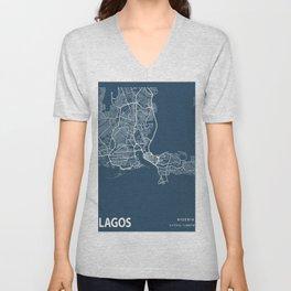 Lagos Blueprint Street Map, Lagos Colour Map Prints Unisex V-Neck