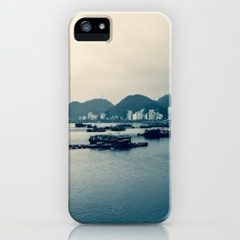 Grey Gloomy Day in Ha Long Bay, Vietnam. Travel Photography. iPhone Case