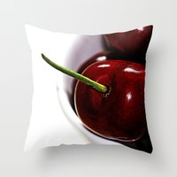 cherry Throw Pillows featuring Cherry by LoRo  Art & Pictures
