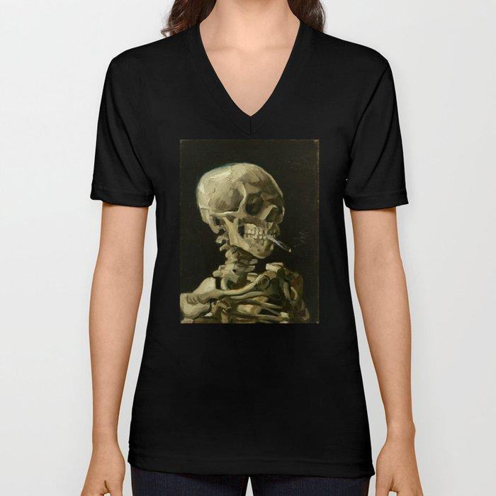 8f4d44e0 Vincent van Gogh - Skull of a Skeleton with Burning Cigarette Unisex V-Neck