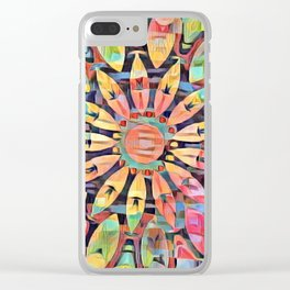 Cubistic Rainbow Flower Kaleidoscope Clear iPhone Case