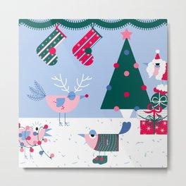 Christmas Birds : A Christmas Gathering Metal Print