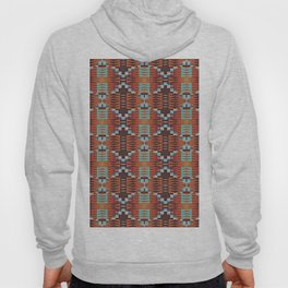 Red Brown Turquoise Orange Native American Indian Mosaic Pattern Hoody