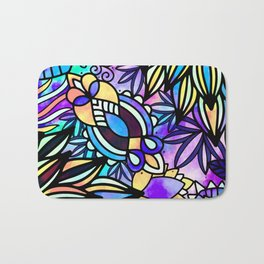 Modern purple pink yellow hand painted watercolor floral Bath Mat
