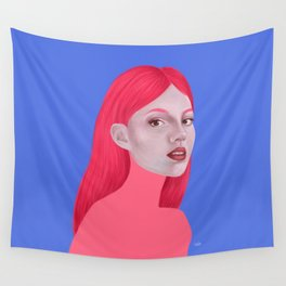 Woman in pink Wall Tapestry