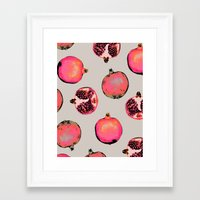 chic Framed Art Prints featuring Pomegranate Pattern by Georgiana Paraschiv