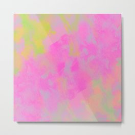 Abstract Watercolor Art Purple and Green Metal Print
