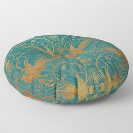 """""""Turquoise and Gold Paradise Birds"""" Floor Pillow"""