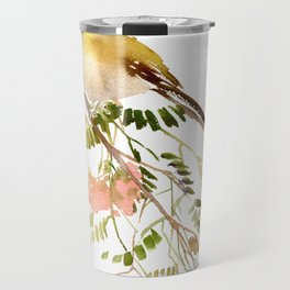 Chickadee Asian Style Bird and Flowers Zen brush painting Travel Mug