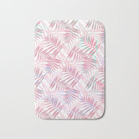 Pastel Color Palms Pattern Bath Mat