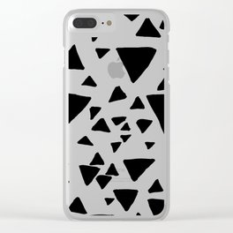 Black white hand painted geometric triangles Clear iPhone Case