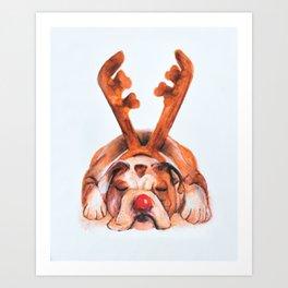 Reindeer Boxer Art Print