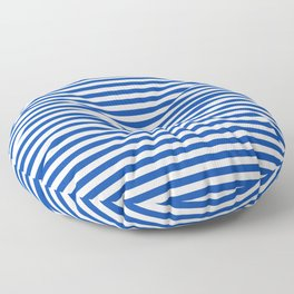 Geometric navy blue white nautical stripes pattern Floor Pillow