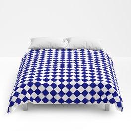 White and Navy Blue Diamonds Comforters