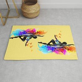 Ballet dancer dancing with flying birds Rug