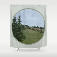 elk Shower Curtains featuring Elk by Kaitlind Marek