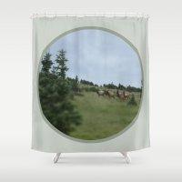 elk Shower Curtains featuring Elk by Kaitlind Marek