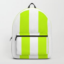 Vertical Stripes - White and Fluorescent Yellow Backpack
