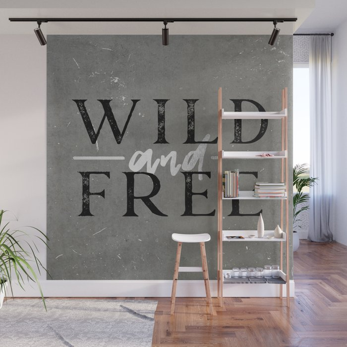 Wild and Free Silver Concrete Wall Mural by cascadia Society6