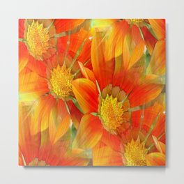Seamless Vibrant Yellow Gazania Flower Metal Print
