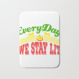 """A Unique Lit Tee For Amazing People """"Everyday We Stay Lit"""" T-shirt Design Reggae Fire Lion Green Red Bath Mat"""
