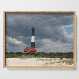 Dramatic Sky Over Fire Island Light Serving Tray
