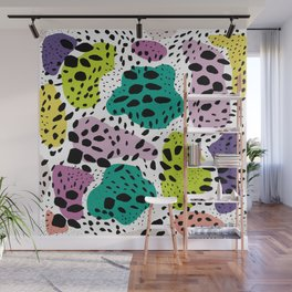 Modern abstract painted black polka dots fashion colors geometric shapes lavender lime Wall Mural
