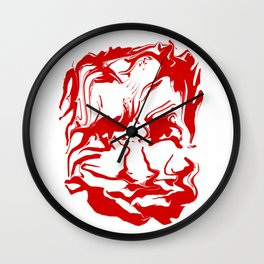 face13 red Wall Clock