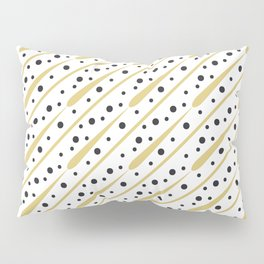Modern Gold and Black Dashes and Dots Pillow Sham