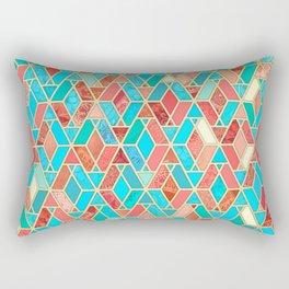 Melon and Aqua Geometric Tile Pattern Rectangular Pillow
