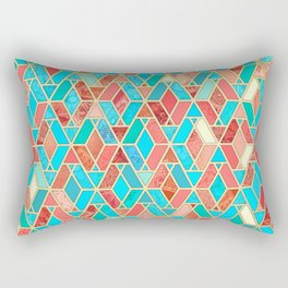 Melon and Aqua Geometric Tile Pattern Rectangular Pillow