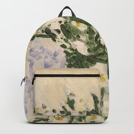 Blue and White Ginger Jar and White Flowers  Backpack