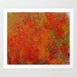 Bright Reds and Coppers Abstract Art Print