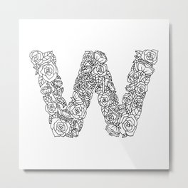 Floral Type - Letter W Metal Print