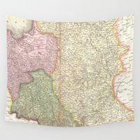 poland Wall Tapestries featuring Vintage Map of Poland (1818) by BravuraMedia