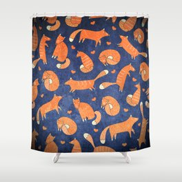 Foxes at Night - Cute Fox Pattern Shower Curtain