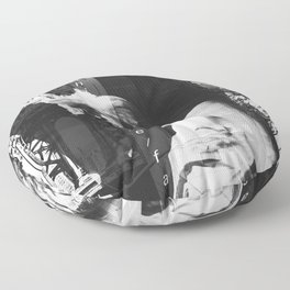 NYC Editorial Collage Black & White Floor Pillow