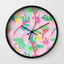 Australian Kangaroo Paw Floral in Pink Wall Clock