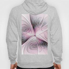 Fantasy Flower, Pink And Gray Fractal Art Hoody