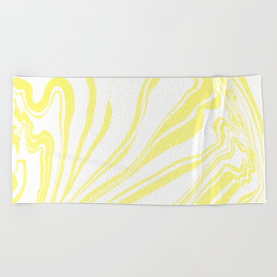 Yellow Marble Ink Watercolor Beach Towel